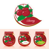 Cherry jam label with jar. Jar of cherry jam and designs for the label Stock Photo