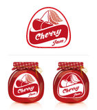 Cherry jam label with jar. Jar of cherry jam and designs for the label Royalty Free Stock Image
