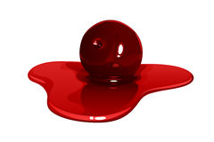 Cherry jam in a puddle of syrup. On a white background Stock Photography