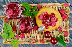 Cherry jam and raspberry Stock Photography