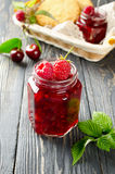 Cherry jam and raspberry Royalty Free Stock Image