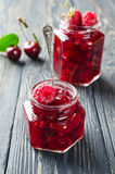 Cherry jam and raspberry Royalty Free Stock Images