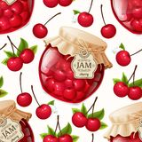 Cherry jam seamless pattern. Natural organic cherry berries jam jar and leaves seamless pattern vector illustration Royalty Free Stock Image