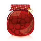 Cherry jam. To facilitate implementation of the designs drawn cherry jam jar Stock Photo