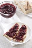 Cherry jam on toast Royalty Free Stock Photography