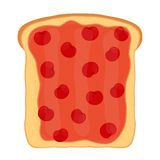 Cherry jam on toast with jelly. Made in flat style. Cherry jam on toast with jelly. Made in cartoon flat style. Healthy nutrition Stock Image
