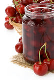 Cherry jam on white Stock Images