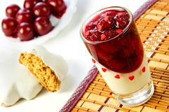 Cherry jelly in a glass Stock Photos