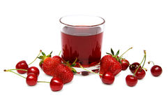 Cherry juice. A glass of strawberry cherry juice on white Royalty Free Stock Photos