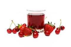 Cherry Juice. A glass of strawberry cherry juice on white Royalty Free Stock Photo