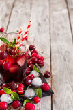 Cherry juice background Stock Photos