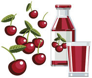 Cherry juice with bottle and glass. Illustration of bottle of cherry juice with glass and cherries Royalty Free Stock Photo