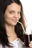 Cherry juice is consumed from a glass Royalty Free Stock Photo