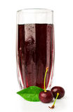 Cherry juice with fresh cherries Royalty Free Stock Photo