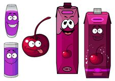 Cherry juice and fruit cartoon characters Royalty Free Stock Photography
