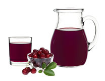 Cherry juice in a glass and carafe Stock Image