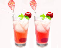 Cherry juice with ice Stock Image