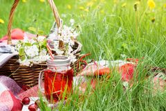 Cherry juice in a jar and wicker picnic basket with food stock photo