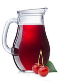 Cherry juice in a pitcher Royalty Free Stock Images