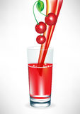 Cherry juice pouring in glass Stock Photography