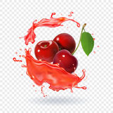 Cherry juice Realistic fresh berry fruit splash of juice Royalty Free Stock Image