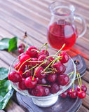 Cherry and juice Royalty Free Stock Photos