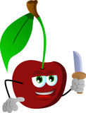 Cherry with a knife Royalty Free Stock Images