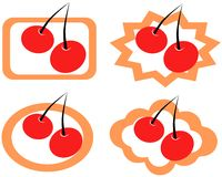 Cherry labels Royalty Free Stock Photos