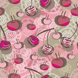 Cherry and Lace-Fruit Delight seamless Repeat Pattern illustration.Background in pink,maroon, brown and cream. Cherry and Lace-Fruit Delight seamless Repeat vector illustration