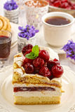 Cherry layer cake. Party dessert Royalty Free Stock Photo