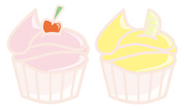 Cherry and Lemon cupcakes. Two cupcakes decorated with cherry and lemon Stock Photos