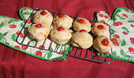 Cherry & lemon scones. Hot from the oven to the table Royalty Free Stock Photography