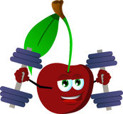 Cherry lifting weight Royalty Free Stock Photography