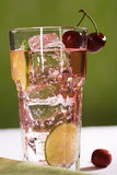 Cherry Limeade. With Lime Slice royalty free stock photo