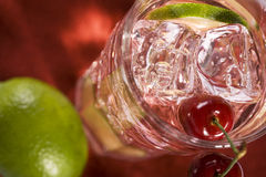 Cherry Limeade. With Lime Slice stock photo
