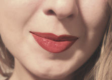 Cherry lips. Lips cherry of women beautiful soft Royalty Free Stock Photos