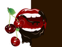 Cherry lips Royalty Free Stock Image