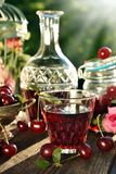 Cherry liqueur in crystal carafe and fresh fruits Stock Photos