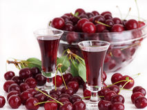 Cherry liqueur in glasses Stock Photo