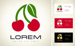 Cherry logo. Vector fruit illustration stock illustration
