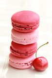 Cherry macarons Stock Images