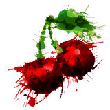 Cherry made of colorful splashes. On white background Stock Photography