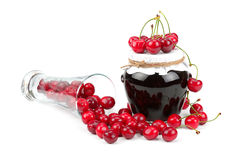 Cherry  marmalade and cherry fruit Royalty Free Stock Photos