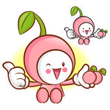 Cherry Mascot the Left hand best gesture. Fruit Character Design Royalty Free Stock Photos