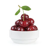 Cherry merry berries in white bowl isolated Stock Photography