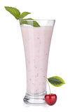Cherry milk smoothie with mint Royalty Free Stock Images