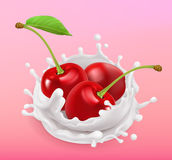 Cherry and milk splash. Fruit and yogurt. 3d vector icon. Cherry and milk splash. Fruit and yogurt. Realistic illustration. 3d vector icon Stock Photo