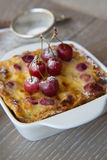 Cherry mini pie in the ceramic baking mould Stock Images