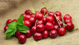 Cherry with mint Stock Image
