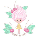 Cherry and mint ice cream girl. Character, vector illustration of cartoon girl with ice cream instead of the hairstyle, isolated on white background Royalty Free Stock Photography